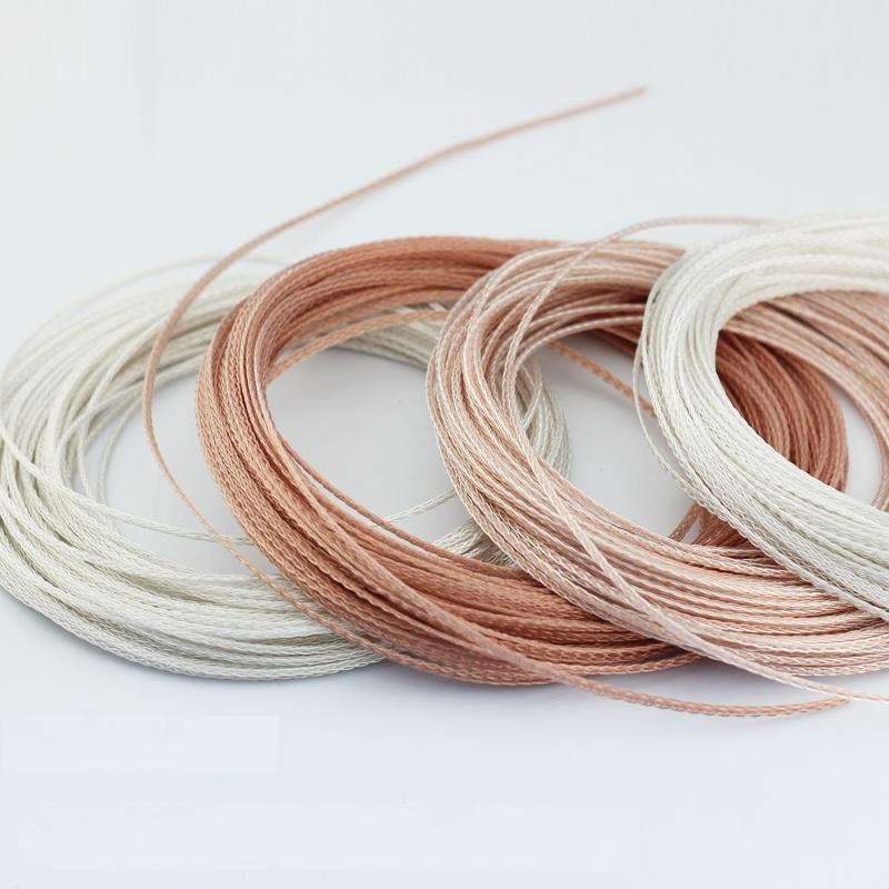 Diy earphone wire single crystal copper silver wire(no plug) 8shares 1meter