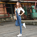 New Fashion Women Spring Casual Denim Jumpsuits Skinny Cotton Grey-Blue Plus Size Overalls Strap Jeans Denim Rompers 26/31 J204