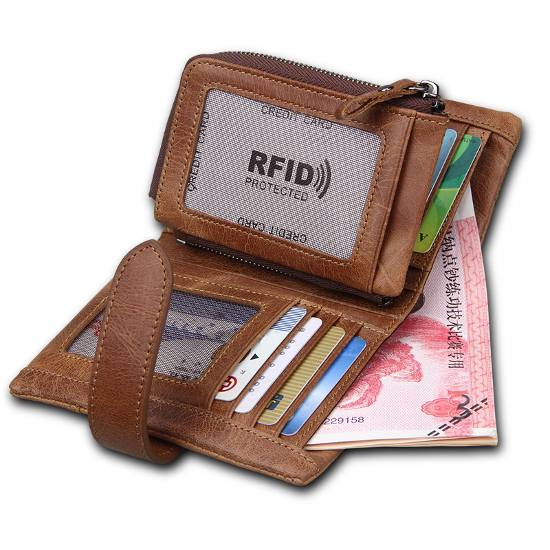 Detachable Coin Purse men wallets genuine leather zipper with card holder money cash pocket male clutch Bags men's purse vintage bosca old leather coin purse