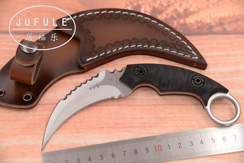 JUFULE New Strider <font><b>karambit</b></font> D2 Sheath leather <font><b>G10</b></font> handle utility outdoor survival camping hunting tool Fixed blade kitchen knife image