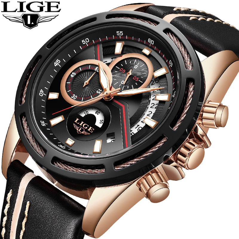 Relogio Masculino LIGE Mens Watches Top Brand Luxury Business Quartz Watch Men Fashion Leather Waterproof Casual Sports Watches 2017 mens watches top brand luxury lige men s leather quartz watch men waterproof fashion casual wrist watches relogio masculino