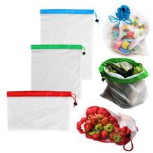 6 pcs/set Reusable Mesh Produce Bag Polyester Washable Vegetable Fruit Bags Mesh for Grocery Shopping Sundries Organizer(China)