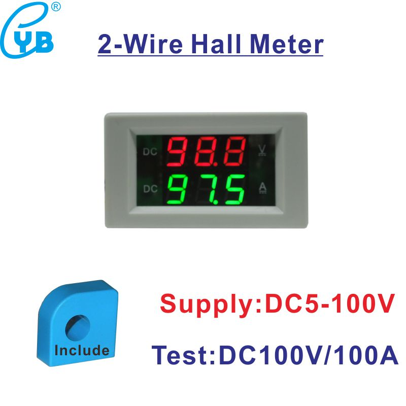 Two Wires Hall Transformer Dc 0 100a Hall Voltmeter Ammeter Dc 5 100v Led Digital Volt Amp Meter Current Indicator Ampere Meter Digital Volt Volt Amp Metervoltmeter Ammeter Dc Aliexpress
