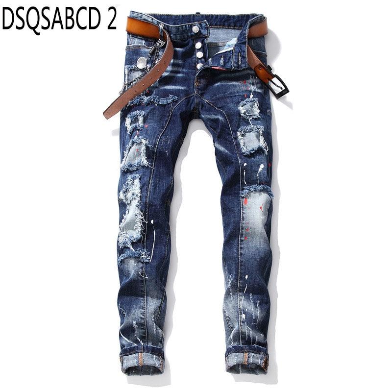 European American Style famous brand   jeans   casual Men Slim   jeans   denim trousers button blue hole   jeans   Pencil Pants for men 1027
