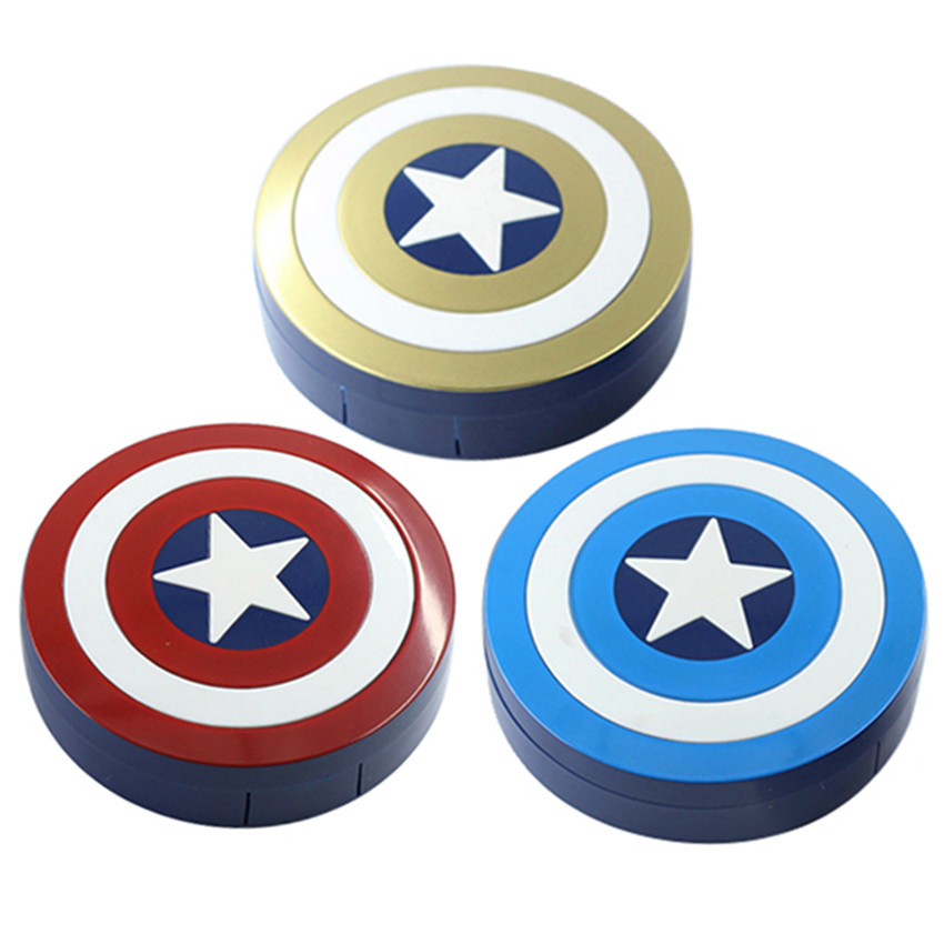 New <font><b>Hot</b></font> Portable Mini Contact Lenses Case for Men and Women Captain America Series Eye Glasses Boxes 3 Color Choose