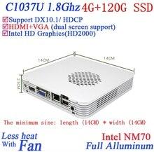 Рекламные мини-пк с windows linux Celeron 1037U dual core 1.8 Г HD Graphics DX10.1 поддержка HDCP alluminum 4 Г RAM 120 Г SSD