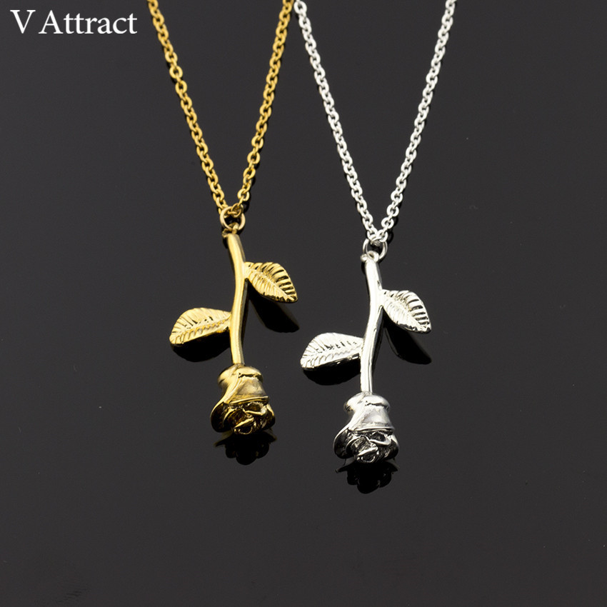 DIANSHANGKAITUOZHE Fashion Silver Color Chain Bijoux Femme Unique Rose Flower Necklace Pendants