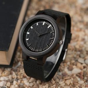 Image 5 - בובו ציפור WC27 גברים של עיצוב מותג יוקרה עץ במבוק שעונים עם עור אמיתי קוורץ שעון ב אריזת מתנה מקבלים oem אישית