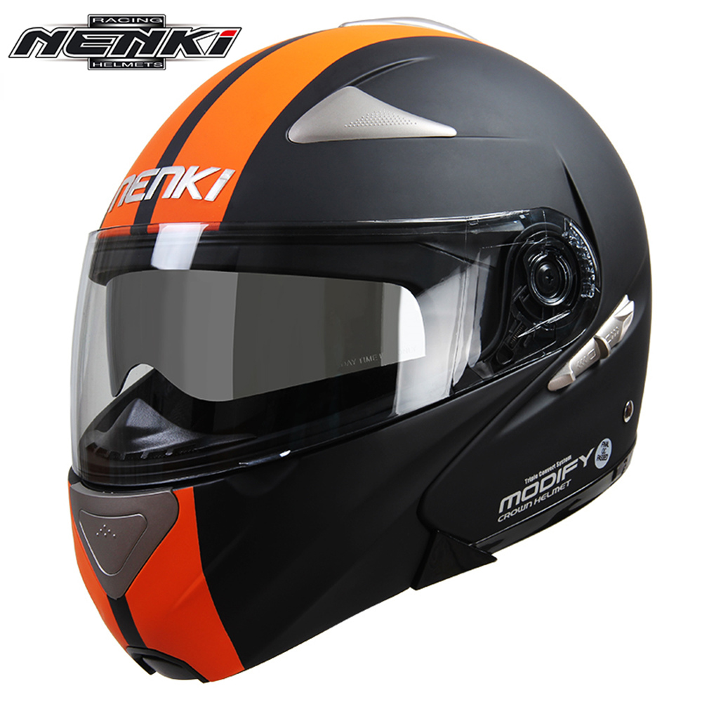 NENKI Men Women Motorcycle Full <font><b>Face</b></font> Racing <font><b>Helmet</b></font> Street Bike Motorbike Modular Flip Up Dual Visor Sun Shield Lens <font><b>Helmet</b></font> DOT