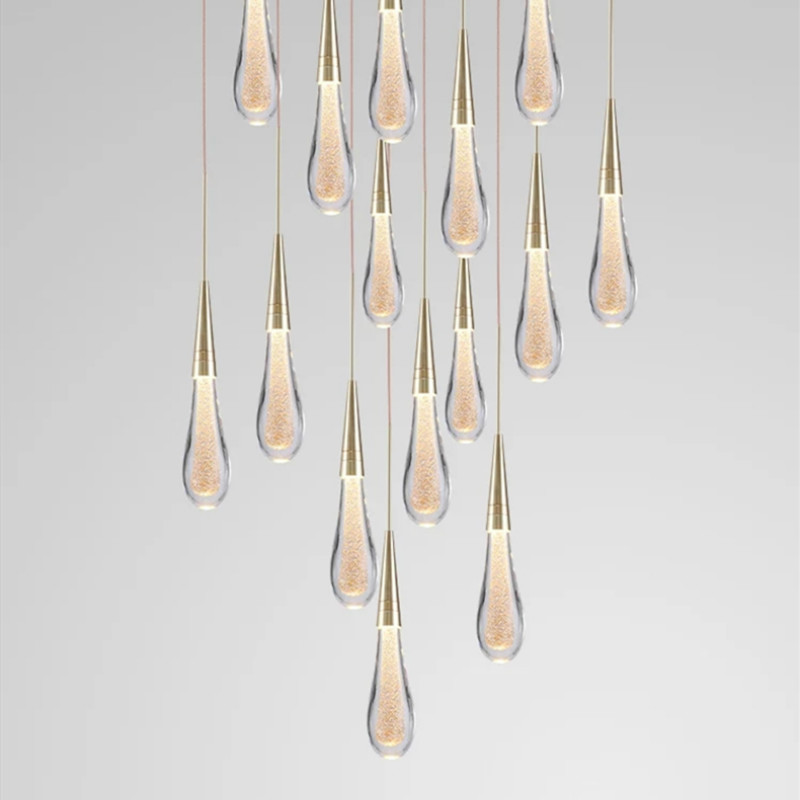 Luxury Designer Pendant Lamp LED Water Drop Pendant Light Scandinavian Loft Crystal Hanging Lamp Creative Restaurant Light