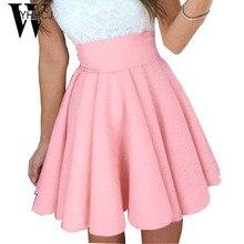 WYHHCJ 2017 новое лето повседневная пышная юбка мода saia midi высокой талией женщины юбки прохладный плиссированные юбки faldas mujer femme