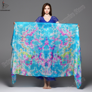 Image 4 - New 100% Veils Light Silk Belly Dance Hand Thrown Scarf Shawl Veil Silk 200cm 250cm 270cm Kids Adults Stage Performance 13 Color