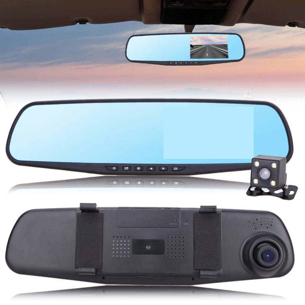 4 3Inch Car Camera Rearview Dual Lens Mirror Auto Car DVR Parking Video Recorder Registrator Dash