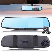 4.3 Pulgadas de la Cámara Auto Del Coche DVR de Doble Lente de Espejo Retrovisor aparcamiento de Vídeo Registrator Cam Dash Full HD 1080 p Noche visión