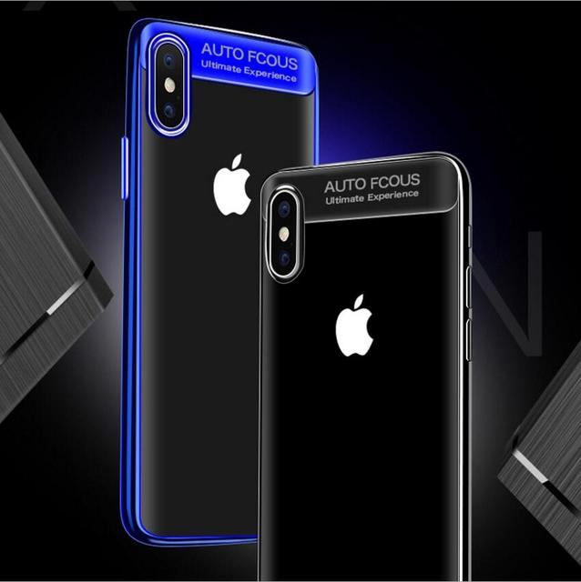 Funda transparente de TPU con revestimiento de silicona ultra delgada para iPhone x Auto Focus funda blanda transparente trasera para Iphone 6 6 7 8 plus