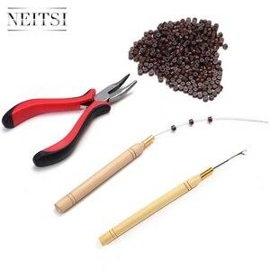 Image 5 - Neitsi 1Pc Tang + 1Pc Haak Naalden + 1Pc Loop Puller 500 Stuks Siliconen Micro Ring kralen Een Set Haar Tools Voor Hair Extensions
