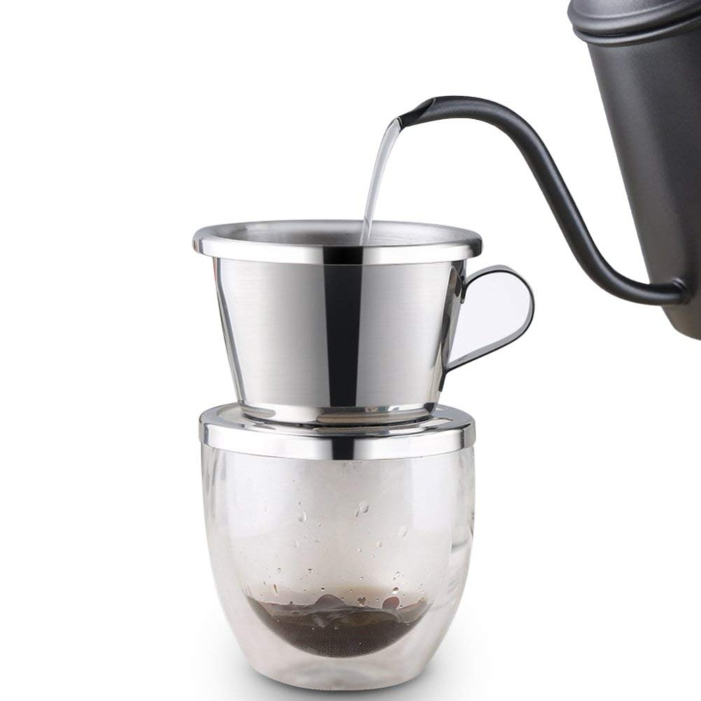 ROKENE Vietnamese Coffee Filter Stainless Steel Coffee Drip Filter ,Portable Reusable Paperless Pour Over for Office Home