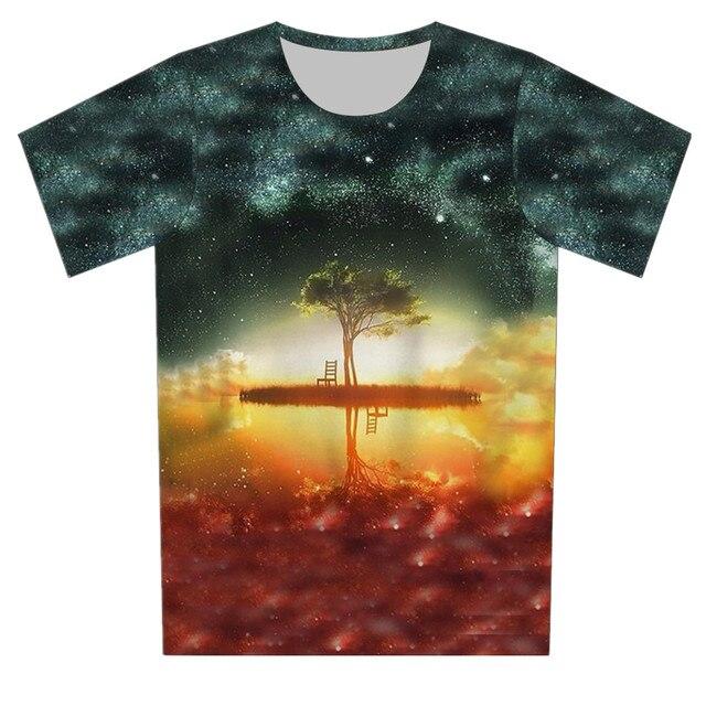 Дети пространство галактика дерево майка череп хип-хоп пистолет печать 3D футболка 2016 летний мальчик девочка мода ти топы Fit 4 - 15 лет