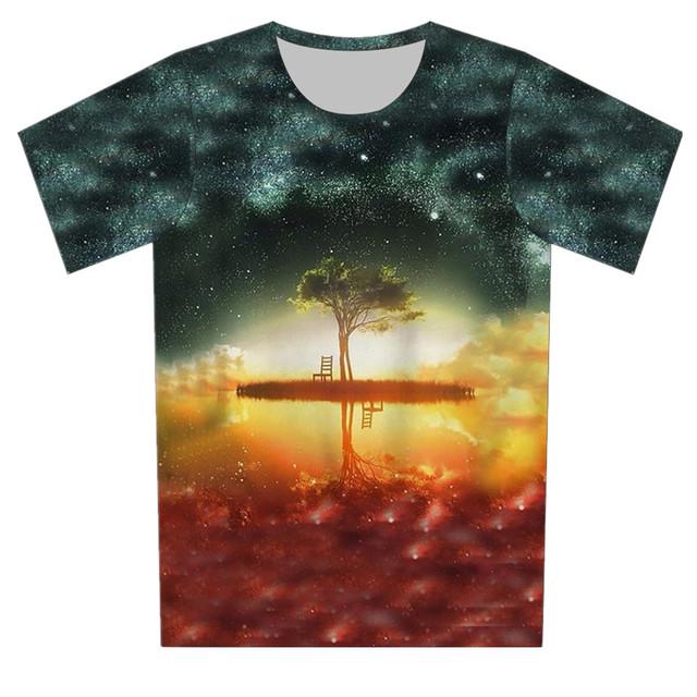 Crianças espaço Galaxy camisa da árvore T Hip Hop crânio Gun imprimir t-shirt 3D 2016 menino verão Fashion Girl Tee Tops Fit 4 - 15 anos de idade