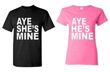 Printed Tee Shirt Crew Neck Short Aye He'S Mine & Aye She'S Mine Couple Super Cute Couple Love Tall T Shirt For Men