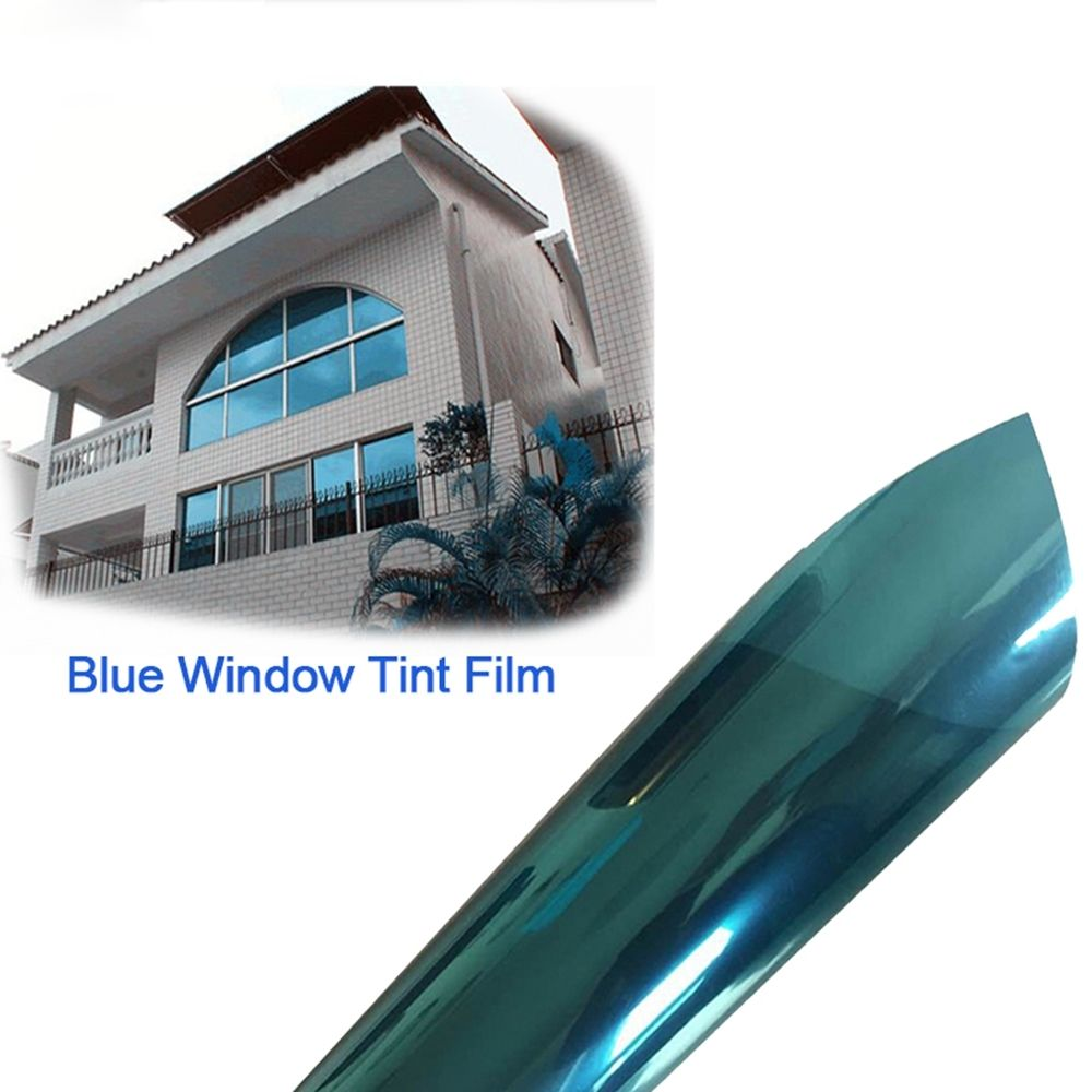 Silver & blue Reflective One Way Mirror Window Film Mirror Privacy Sticky Glass Tint the window office paper sticker pervious to light do not transparent bathroom window shading white frosted glass tint