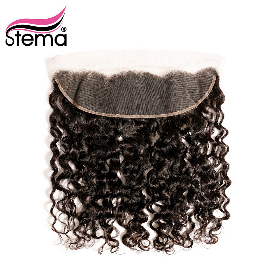 Stema 13x4 Lace Frontal Closure 8-22Inch Brazilian Deep Wave Natural Hairline With Baby Hair 100% Lace Frontal Human Remy Hair