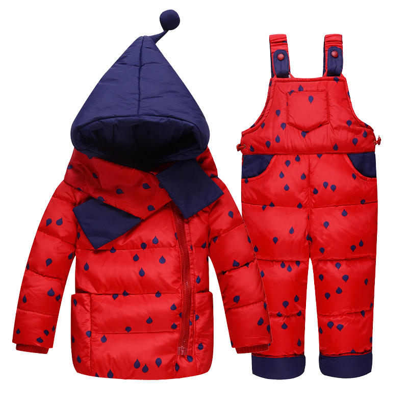 Children Boys Girls Winter Warm Witch Hooded Down Jacket Suit Set Thick Coat+Jumpsuit Baby Clothes Set Kids Jacket With Scarf winter children baby down jacket set long sleeve down coat pants set boys girls baby winter warm coat trouser suit