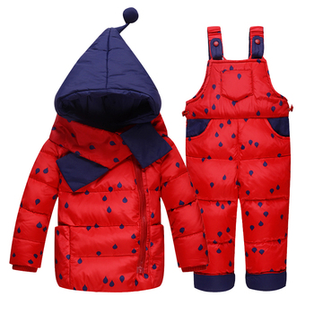 Children Boys Girls Winter Warm Witch Hooded Down Jacket Suit Set Thick Coat+Jumpsuit Baby Clothes Set Kids  Jacket With Scarf