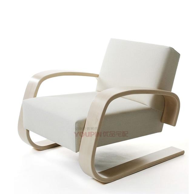 Personalized Custom Furniture Designer Lounge Chair Recliner New Curved Wooden Handrail Scandinavian Design Beijing Tianjin