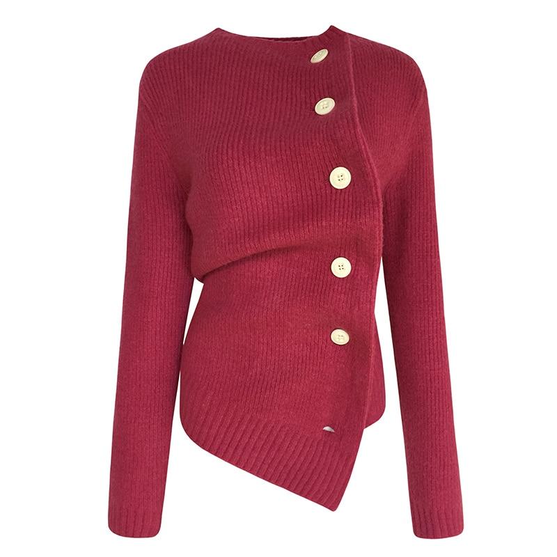 NiceMix 2019 autumn winter fashion streetwear skew buttons asymmetrical sweater women jumper women's sweaters nice mix