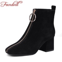 FACNDINLL Women Boots 2017 Autumn Winter Real Leather Shoes Woman Ankle Boots Black Gray Zipper High