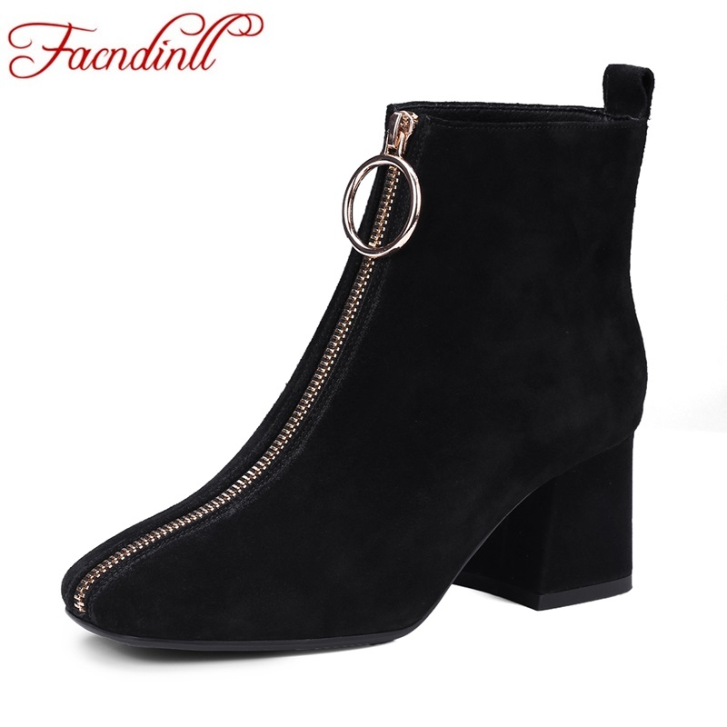 FACNDINLL women boots 2017 autumn winter real leather shoes woman ankle boots black gray zipper high heels casual riding boots eglo calnova 94715