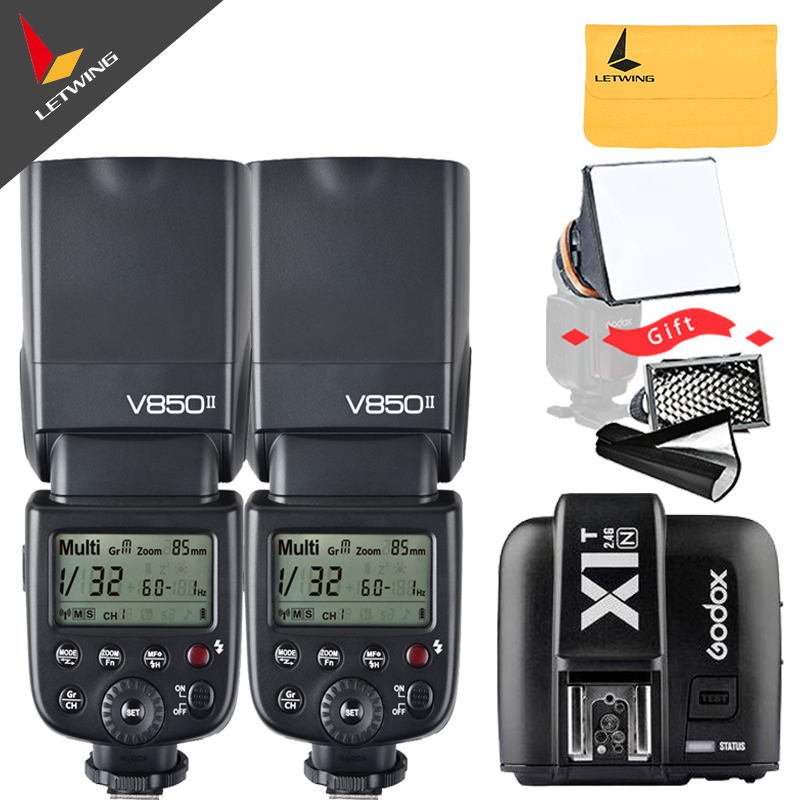 Free DHL! 2* Godox V850II GN60 w/  Li-ion Battery 2.4G Wireless X System Speedlite Flash + X1T-N Trigger Transmitter for Nikon 2 receivers 60 buzzers wireless restaurant buzzer caller table call calling button waiter pager system