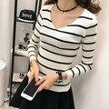 Venta caliente de la primavera y Camisa de Las Mujeres AutumnT 2016 de Manga larga Raya de La manera que hace punto T-shirt Mujeres Tops Plus Size T-shirt Femme