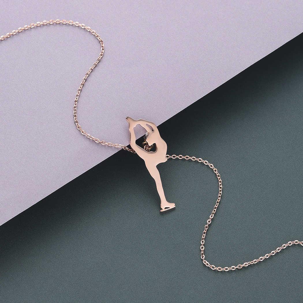 Todorova, женское ожерелье с фигуркой конькобежца, 2018, розовое золото, ожерелье с подвеской для катания на льду, мужские ювелирные изделия из нержавеющей стали