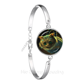 A Mad Tea Party Mad Hatter March Hare Fairy Tale Art Classic Bracelet Alice In Wonderland Silver Plated Chain Bangle image