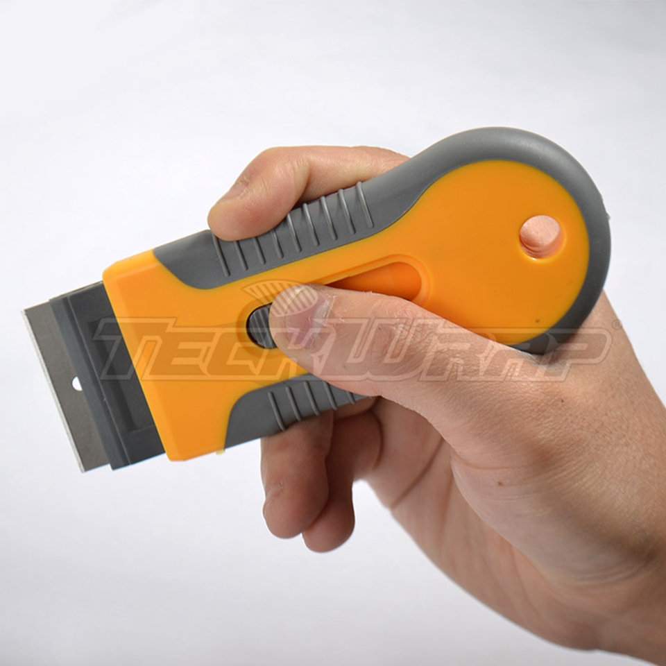 Image 5 - Free Shipping Vinyl Tool Yellow Mini Razor Scraper Spatula Scraper With Razor Blade For Gule Removing MO 89 Whole Sale-in Car Stickers from Automobiles & Motorcycles