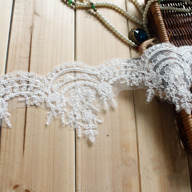 1 Yard Width 11cm Off White Bridal Veil Accessories DIY Embroidered Lace  Trim Handmade Lace Fabric