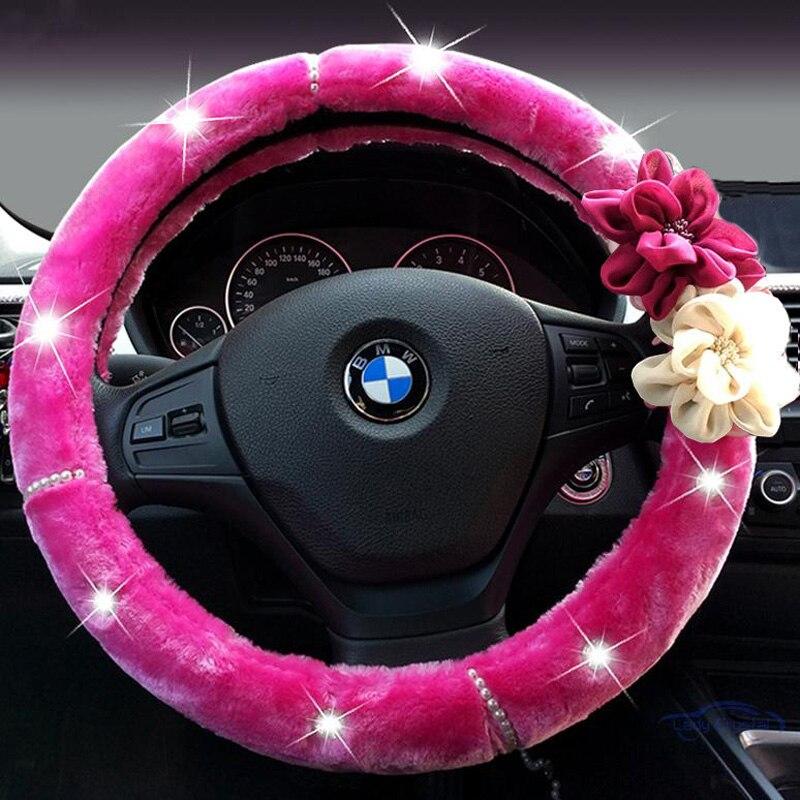 Flor color de rosa de cristal Auto volante invierno de felpa piel - Accesorios de interior de coche - foto 3