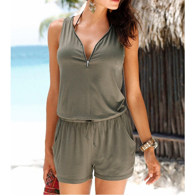 2017 New Beach Casual V-neck Fashion Sleeveless Zipper Slim Womens Jumpsuit Rompers Elastic Waist Sex shorts Size S-5XL