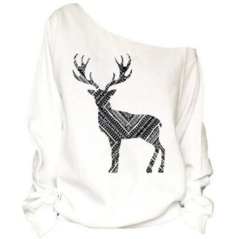 5d2c0a7d5f7 2018 Plus Size Women Sweatershirt Loose Merry Christmas Off Shoulder Shirt  Deer Print Big Size Tops Unicon Pullover Shirt 5XL-in Hoodies & Sweatshirts  from ...