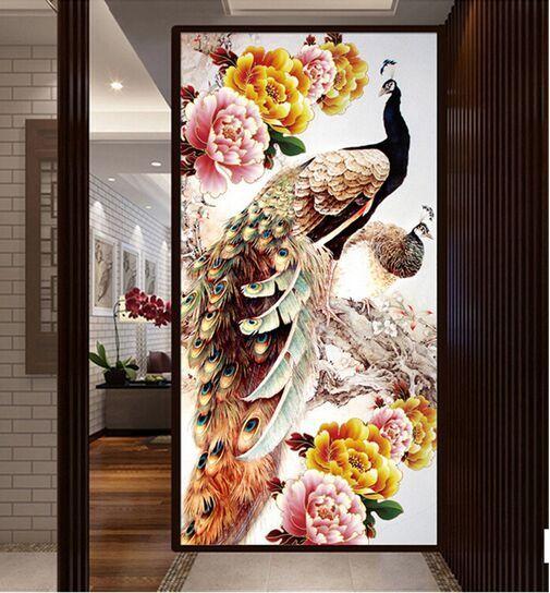100x50 cm DIY 5D Diamante Ricamo Diamante Mosaico Nuovo Pavone Anima Amore Pittu