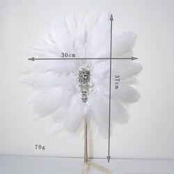 Fã Pena De Noiva Bouquet Decorativa do vintage Acessórios de Cristal Da Dama de Honra Buquê de Casamento Gatsby Flapper 20 s