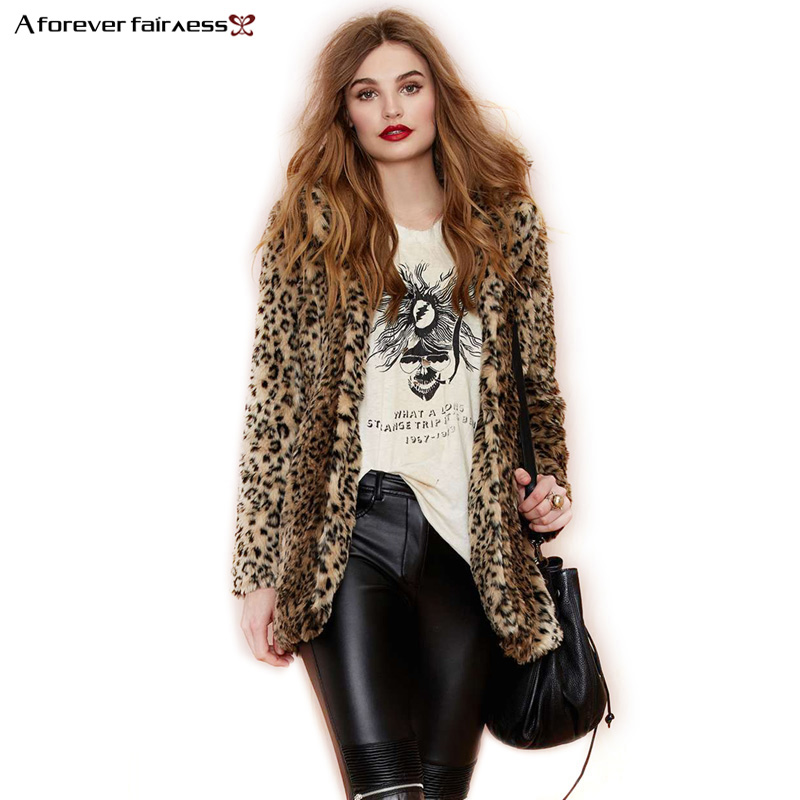 A Forever S-6XL Winter Women Coat Fur Coat Domineering Feral Faux Fur Leopard Coats Fashion Warm Outwear Casaco De Pele AFF731