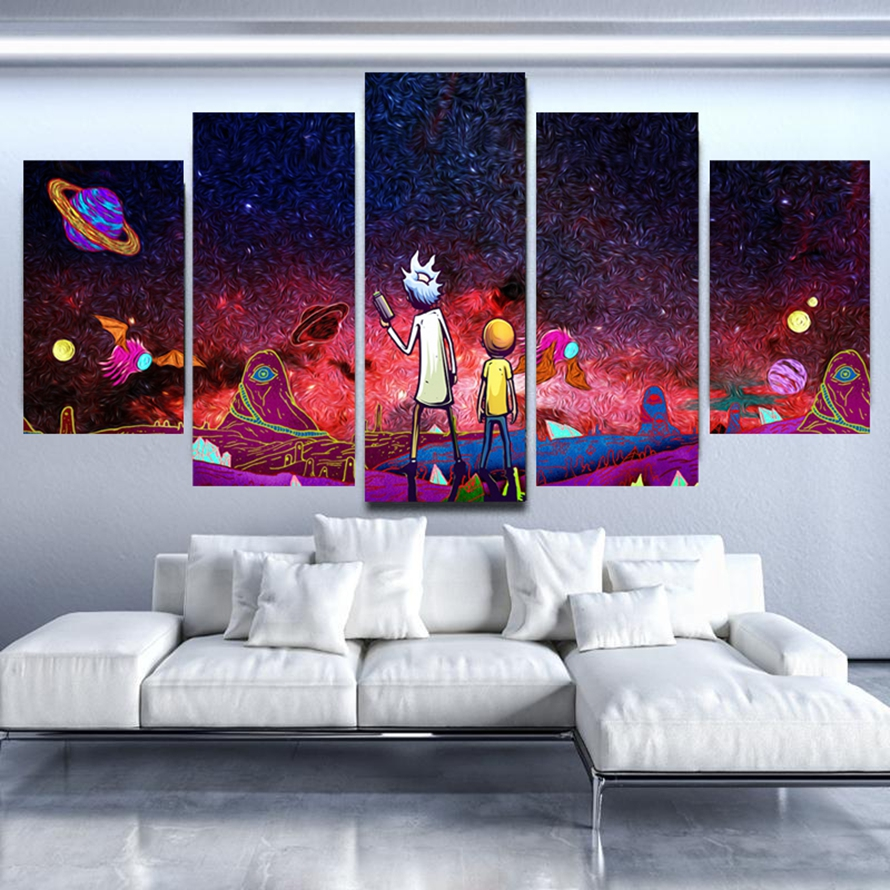 Home Decor Print Paint 5 Pieces Modular Rick And Morty Vintage Art Canvas Cartoon Wall Picture For Living Room Animation Poster 1