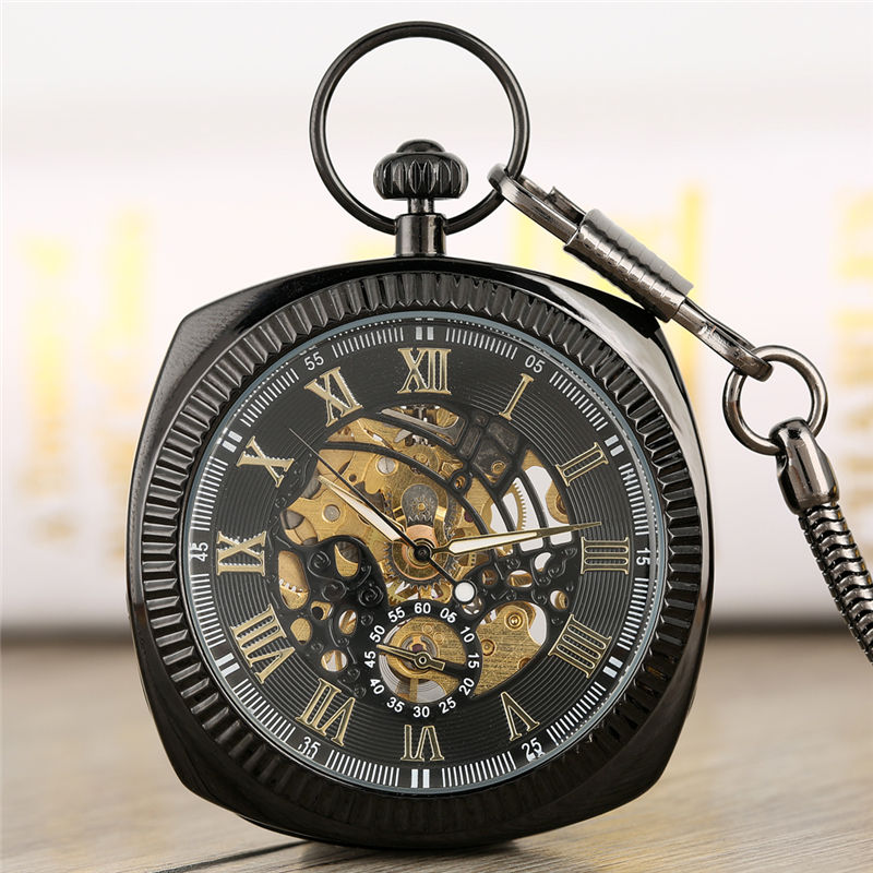 Special Hollow Out Dial Square Pocket Watch Creative Hand-winding Mechanical Vintage Pendant Watch Clock Men Women Gift Orologio