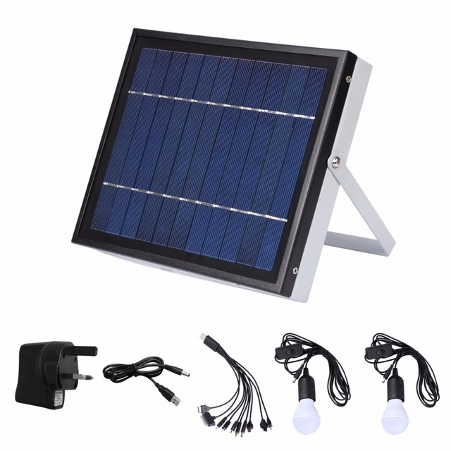 Solar Lighting System for Indoor/Outdoor Use New Solar Mobile Lighting System Photovoltaic Power Generation +Various USB Cables