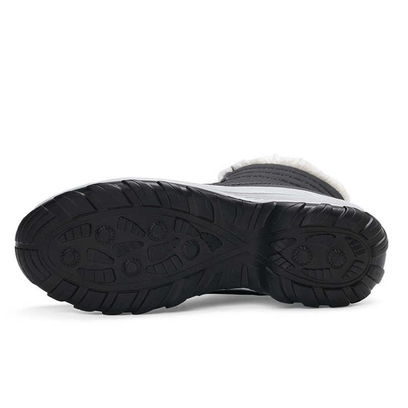 Untuk Wanita Hangat Bulu Sepatu Bot Musim Dingin Fashion Wanita Sepatu Renda Up Platform Ankle Boots Tahan Air Sepatu Bot Salju Non-Slip sepatu Wanita