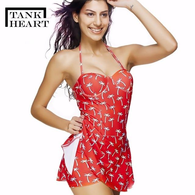 9be2c4cf084 Tank Heart Sexy printing Bare Red Halter Skirt Swimwear Women One Piece  Swimsuit Beachwear Bathing suit Swimwear dress Plus size