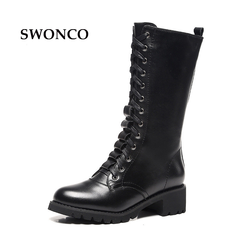 SWONCO Women's High Boots 2018 Autumn Genuine Leather Female Shoes Women Boots Winter Mid Calf Warm Plush Woman Boot Shoes 2017 black women boots sheepskin winter warm plush female boots mid calf genuine leather women shoes